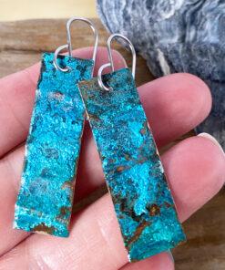 blue green copper patina long rectangle earrings - verdigris