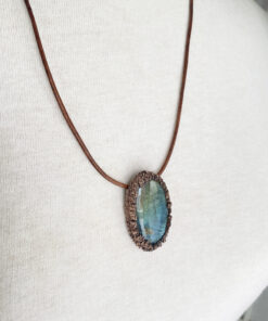 electroformed labradorite necklace - copper electroforming