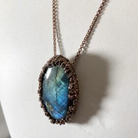 electroformed labradorite necklace - copper electroforming