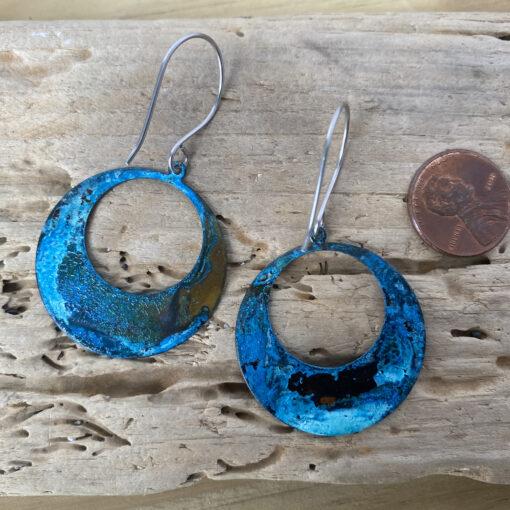 blue copper patina hoop earrings