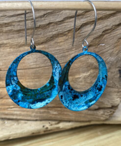 blue copper patina hoop earrings