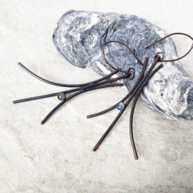 long copper wire aquamarine cabochon earring