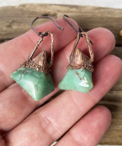 green chalcedony electroformed copper earrings