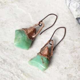 green chalcedony electroformed copper earrings
