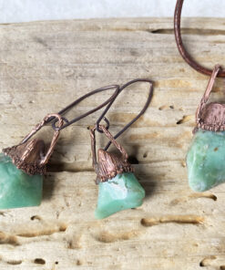 green chalcedony electroformed copper necklace