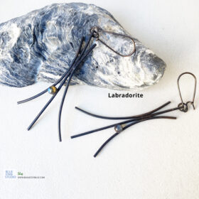 darkened copper wire aquamarine cabochon earring