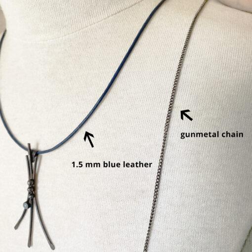 darkened copper wire aquamarine necklace