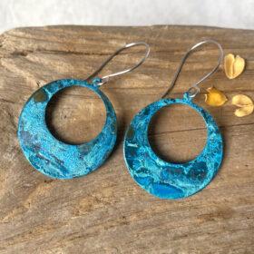 blue copper patina large hoop earrings