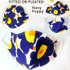 marimekko face mask blue poppy navy fitted pleated mask