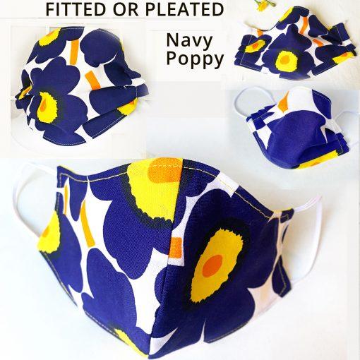 marimekko face mask blue poppy navy fitted pleated mask