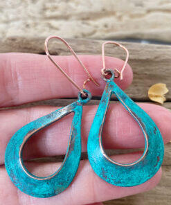 verdigris patina open teardrop earrings