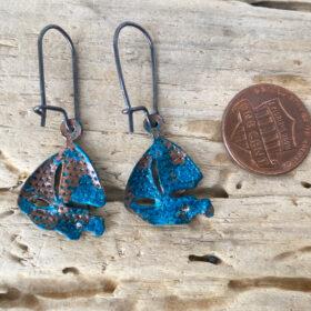 patina sailboat earrings