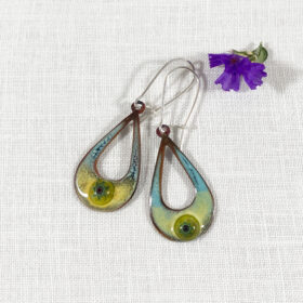 the seeing eye enamel teardrop open oval earrings