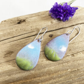 spring earrings - printemps - enameled blue green oval teardrop earrings