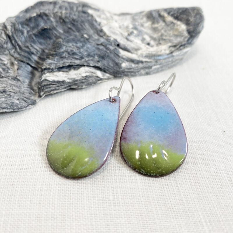 spring earrings - printemps - enameled blue green oval teardrop earrings
