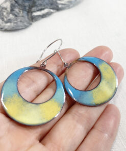 enameled copper spring yellow hoop earrings