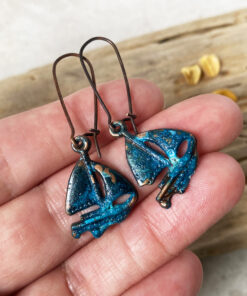 patina sailboat earrings