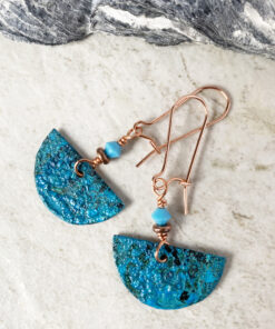copper patina half moon earrings