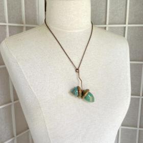 electroformed copper real acorn necklace