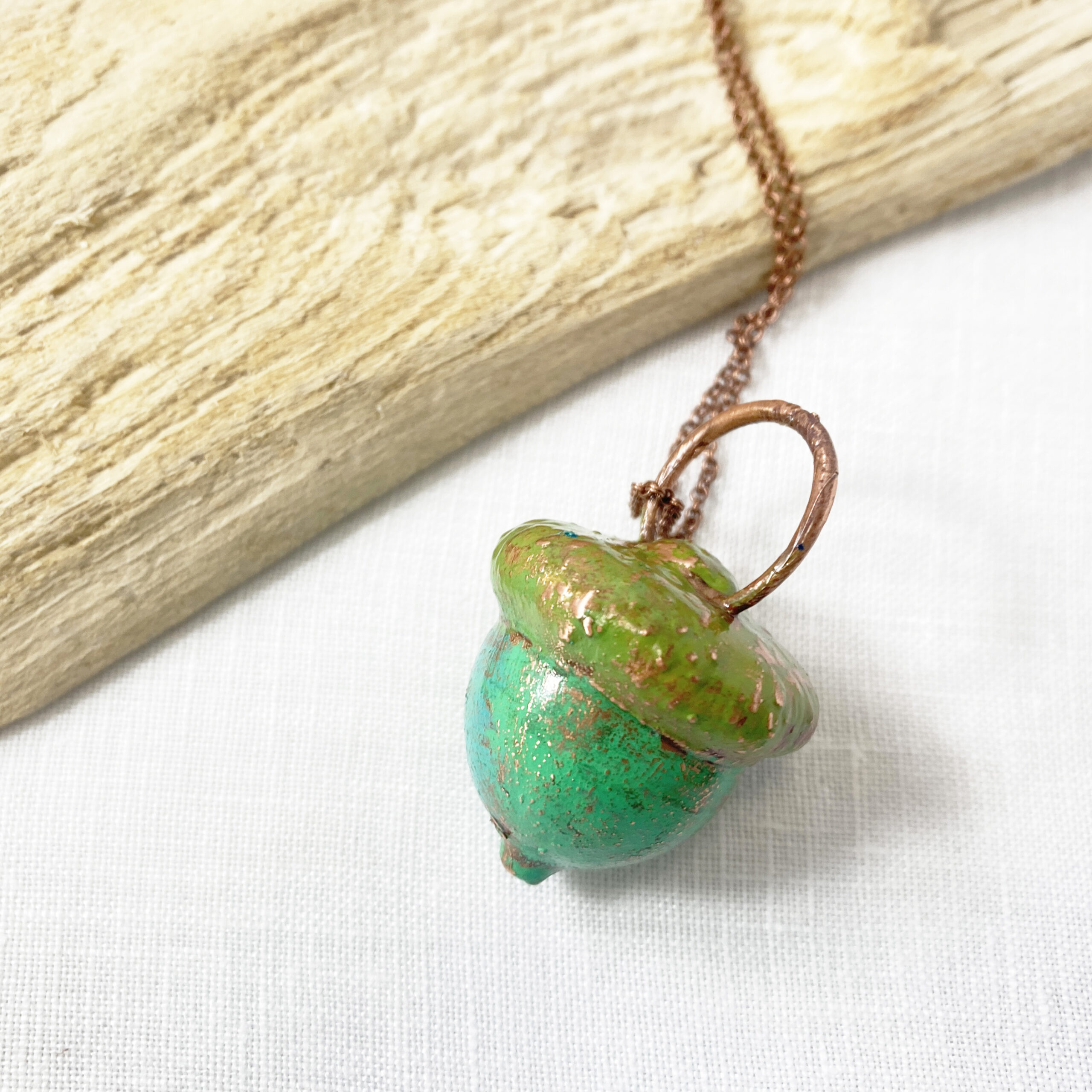 electroformed copper acorn with patina necklace