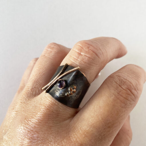 copper gemstone wide band ring