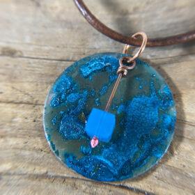 blue copper patina disc pendant