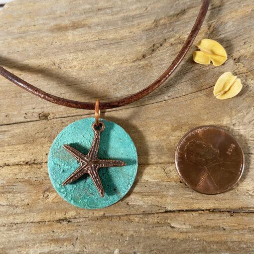 copper patina starfish pendant