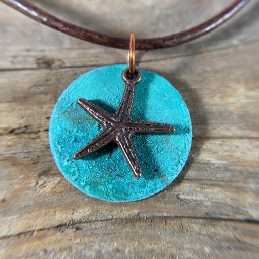 copper patina disc starfish pendant