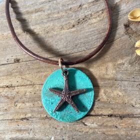 copper patina disc pendant