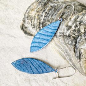 blue stripe lines enamel long oval earrings