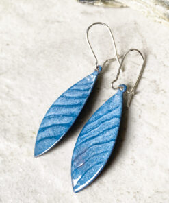 blue lines enamel long oval earrings
