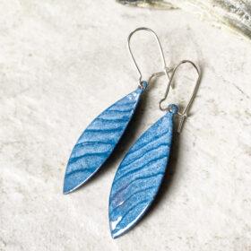 blue lines enamel long oval earrings