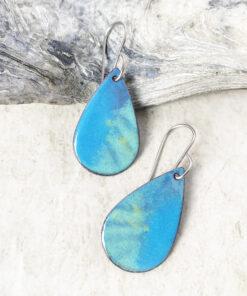 blue green enamel oval earrings artisan handmade jewelry