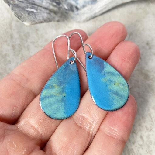 blue green enamel oval earrings