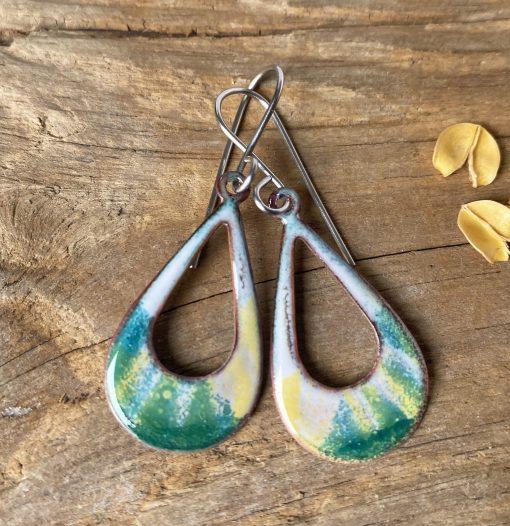 oval hoop green yellow enamel earrings