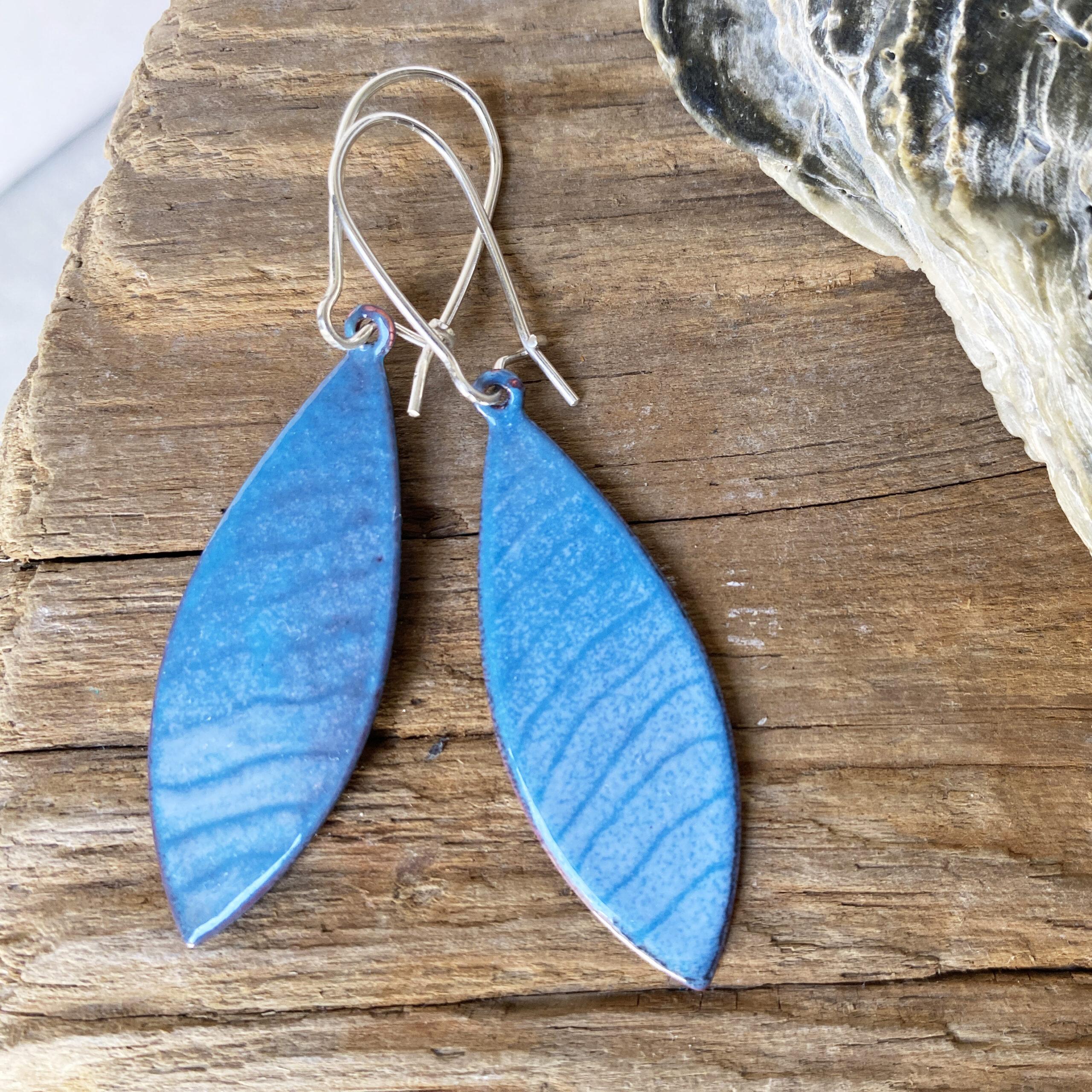 Ocean waves blue lines enameled copper long oval earrings