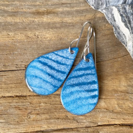 blue waves oval enamel earrings