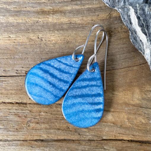 blue waves enamel teardrop earrings - enameled copper