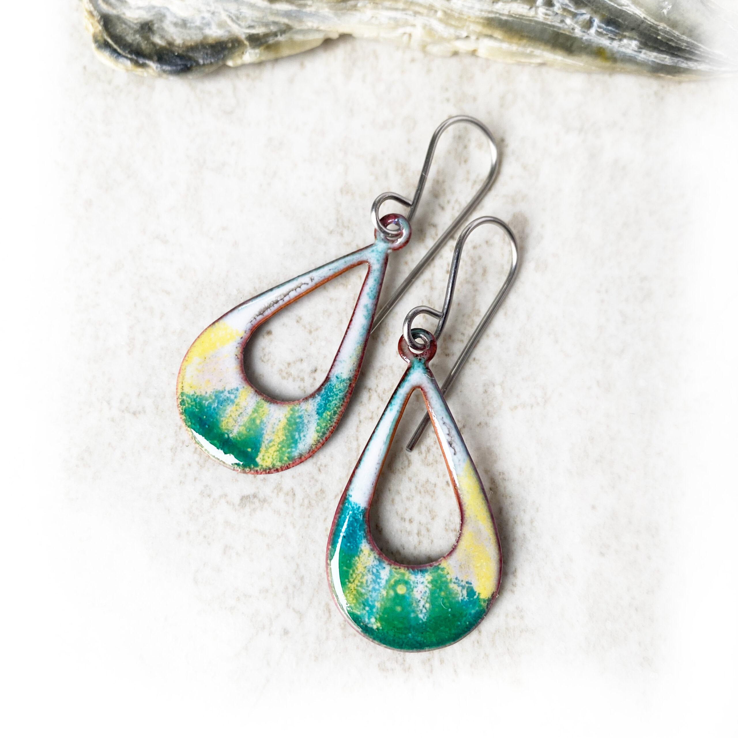 oval hoop enamel earrings