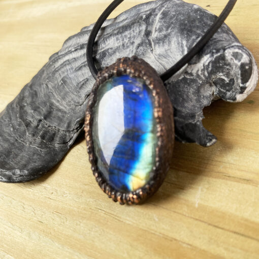labradorite pendant electroformed copper necklace