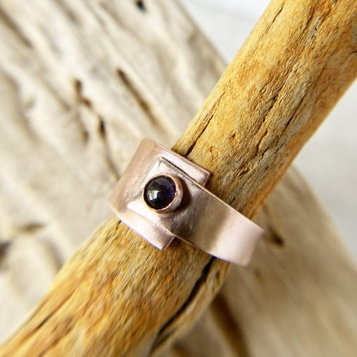 copper and bronze mixed metal ring with round iolite stone