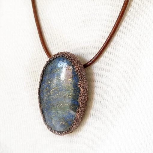 Lapis electroformed copper pendant