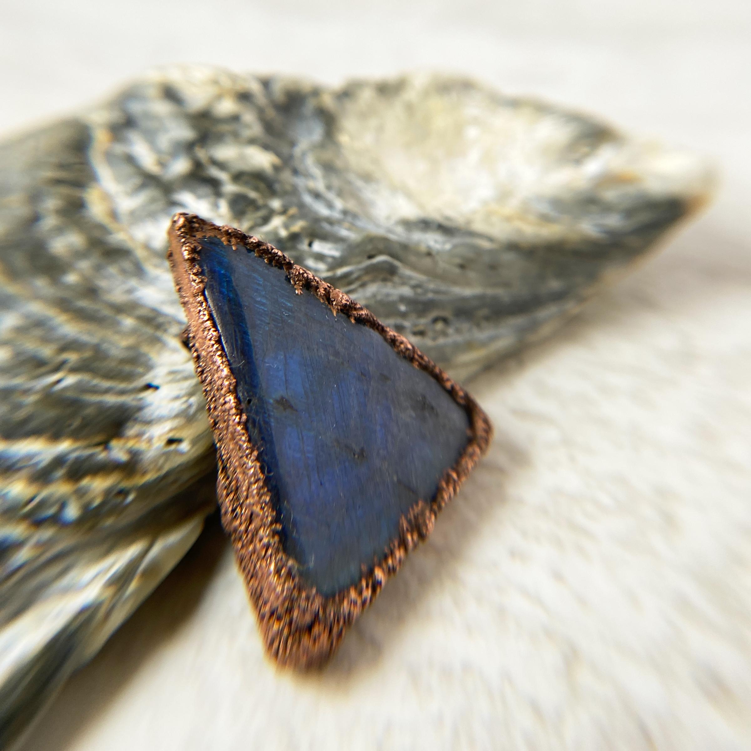 electroformed copper labradorite pendant