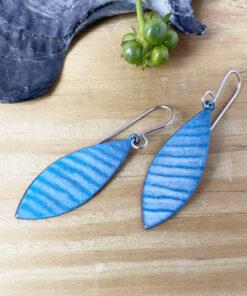 blue wave enamel earrings