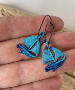 sailboat blue patina earrings