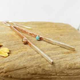 copper amd silver bar spiny oyster shell earrings