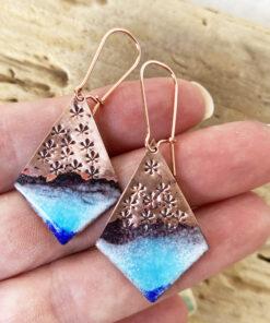 Starfish bllue enameled copper earrings