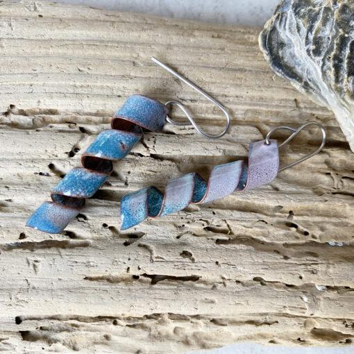 enamel corkscrew earrings copper enameled handmade rustic jewelry