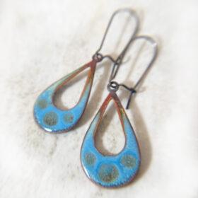 blue open oval enamel earrings