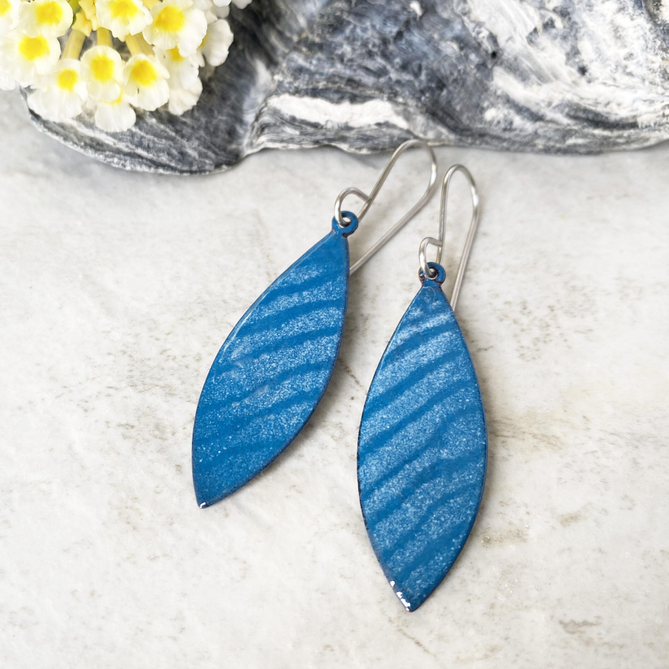 blue waves long enamel oval earrings